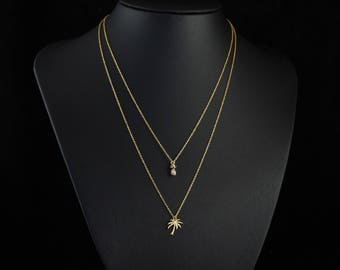 Dainty Gold Pineapple and Palm Tree Layered Necklace, Two Strand Necklace, Summer Jewellery, Delicate Fine Chain