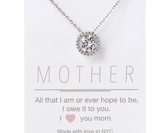 Christmas Gifts for Women, Necklace for Mom, Gifts for Mom, Gifts for Her, Personalized Gift for Mom, Crystal Pendant Necklace, N398-S