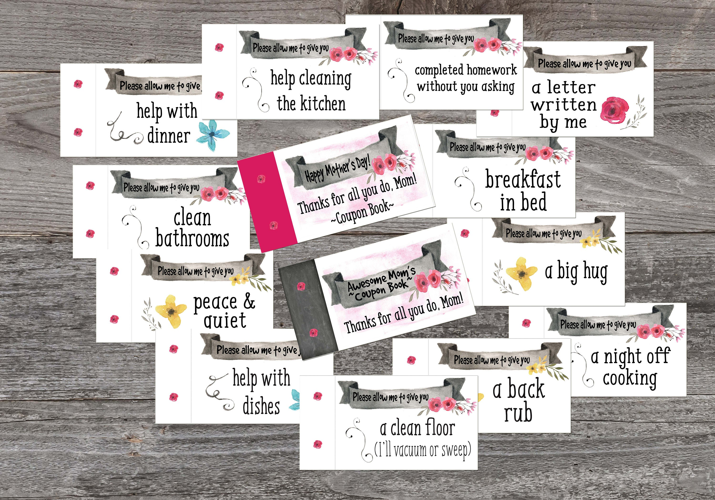 stocking stuffer mothers day coupon book printable coupon. Black Bedroom Furniture Sets. Home Design Ideas
