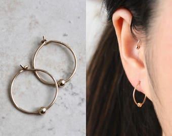 Simple Hoop Earrings w/Bead, Hoop Earrings, Gold Hoop Earrings, Simple Hoop Earrings, Tiny Hoop Earrings