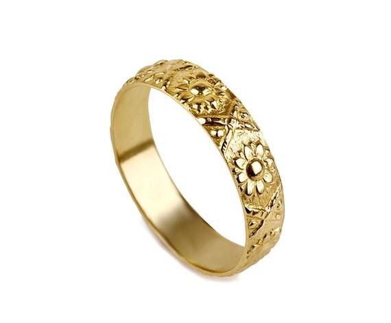 14k white gold flower wedding band sunflower wedding ring like this item junglespirit Choice Image