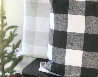 Farmhouse Buffalo Check Pillow, Decorative Pillow Cover, Custom Pillow Cover, Farmhouse Decor - BLACK and GRAY