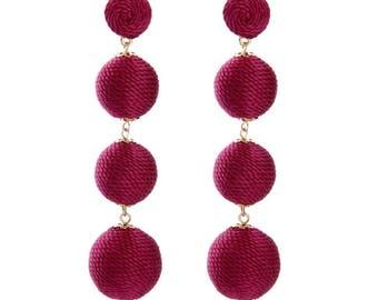 Garnet thread ball earrings
