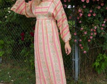 Vintage 1970's 70's Young Edwardian Boho Cotton Peasant Dress Bell Sleeves Gauzy Cotton Festival Hippie Pink Peach Maxi Dress