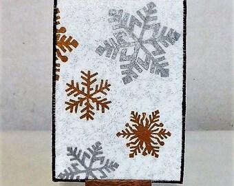Snowflakes Fabric Postcard