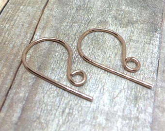 3 Pairs (6 pcs) Handmade Rose Gold Fill Ear Wire, 18 Gauge, 19 Gauge, 20 Gauge or 21 Gauge, Rose Gold Earwire, Rose Gold Earring Findings