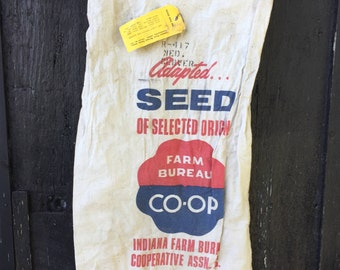 Vintage Indiana Seed Sack, Farm Bureau Co-Op Heavy Cotton Red White Blue Rustic Farm, Upcyle Repurpose Upholstery Sewing