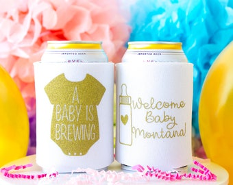 A Baby is Brewing, Baby Shower Favors, Baby Shower Party, Can Coolers, Party Favors, Gender Reveal, Couples Shower, Welcome Baby