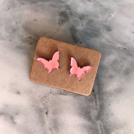 Pink Mirror Spring Studs - Butterflies - Rabbits - Hearts - Elephants - FREE SHIPPING - Handmade Mirror Pink Earrings