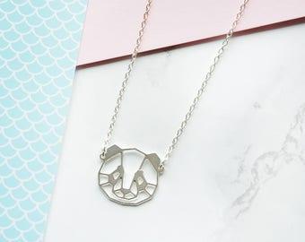 Panda necklace, geometric Panda, origami necklace, geometric necklace, silver Panda, Panda head, BFF necklace, Christmas gift, laser cut