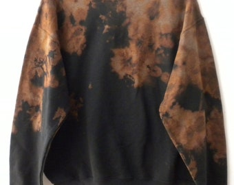 Tie Dye Sweatshirt, Acid wash sweatshirt, dip dye, Black, crewneck sweatshirt, Grunge, retro sweatshirt, rocker, sweater, jumper, hipster