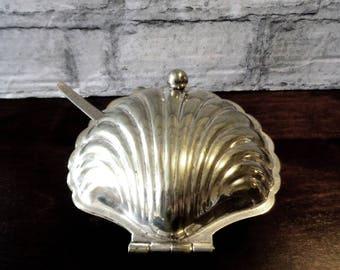 Jahrgang 1950 Clam Muschel Silber Platte Kaviar Teller Mit Löffel Made In  England Butter Server Bewahren