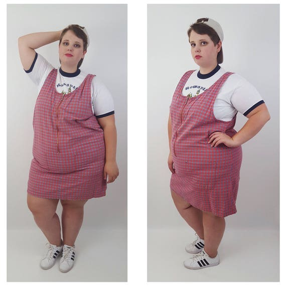 Vintage 90's Red White Blue Plaid Overall Dress 2X 3X -Plus Size Overall Minidress with Zipper Front -Vtg Grunge Plus Size Fashion Jumper