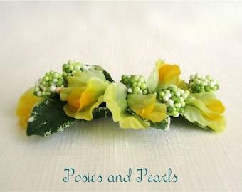 "Yellow, Light Green, Silk Flower Hair Comb Fascinator, Sweet Peas, Berries, Wedding, Bridal, Bridesmaids, ""Spring Blossom"""