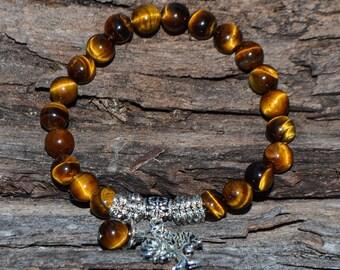 FREE SHIPPING WORLDWIDE-Tiger Eye Charm Bracelet - Tree of Life Bracelet - Stretch Bracelet - Unisex Bracelet-Men's Bracelet-Reiki Jewellery