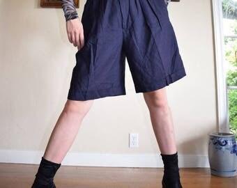 Navy Linen Pleated Shorts
