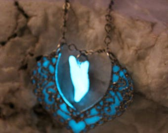 Blue Glow in the Dark Heart Filigree Collar Necklace with Aqua Glow Leaf