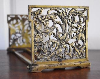 Expandable Brass North Wind Phoenix Fox Bookends, Telescoping Book Rack, Art Nouveau Book Holder Display Desk Office Bookend Set