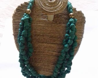 T-shirt fabric necklace knotted soft GREEN scarf