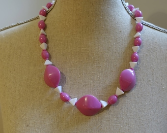 Vintage 80s Hot Pink and White Geometric Chunky Statement Necklace