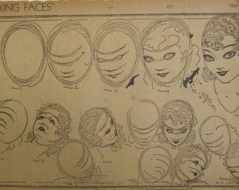 Original 1930's Newspaper Clipping - Making Faces By Nell Brinkley