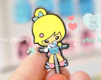 Lovely chic kawaii enamel pin bike with girl, super cute.
