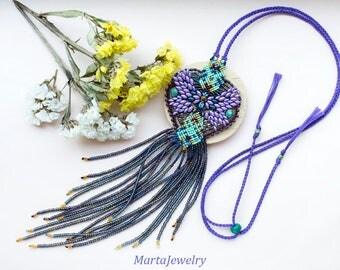 Purple mint butterfly, beaded fringe, macrame necklace, bohemian, boho chic, micro-macrame jewelry, extra long, tassel pendant, beadwork