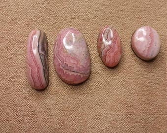 Pink Rhodocrosite Freeform Oval Cabochons/ backed