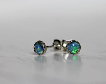 Opal Earrings Tiny Stone Studs Sterling Silver Electroformed Earrings Electroformed Jewelry Gemstone Jewelry Natural Stone