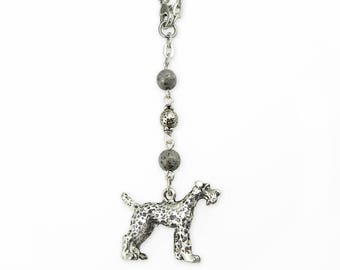 Dog Car Mirror Charm, 3D Antique Silver Schnauzer, Gray Silver Beads & Chain, Mirror Dangle, Pet Theme Rear View Mirror Hanger, Car Jewelry