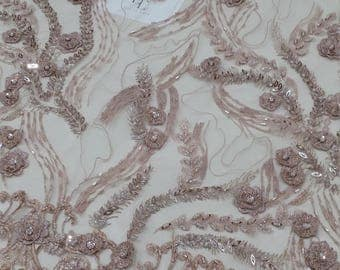 Old rose Pink lace fabric, beaded luxury 3D lace fabric,  hand beaded high quality French chantilly lace fabric by the yard LUX9109