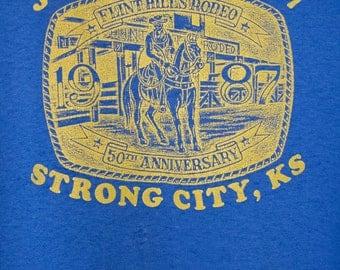 1987 strong city kansas flint hills rodeo shirt - vintage 80s - paper thin - cowboy