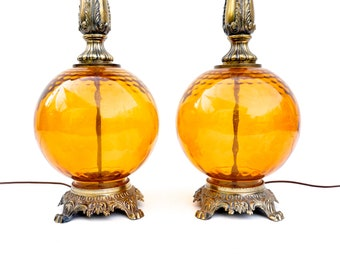 Pair of Mid-Century Optic Amber Glass Globe Table Lamps || EF & EF Industries Retro Bohemian Statement Lighting