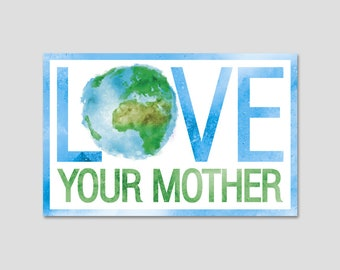 Love Your Mother Earth Watercolor Bumper Sticker Decal 5""