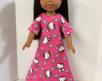 "Wellie Wishers Like 14.5 inch Doll Clothes, Adorable Pink ""HELLO KITTY"" Flannel Nightgown,Fits 14"" Dolls like AG Wellie Wishers Doll Clothes"