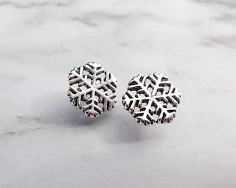 Snowflake Stud Earrings, Sterling Silver Snowflake, Snowflake earrings, Minimalistic  Snowflake jewelry, Winter Jewlery, Winter earrings