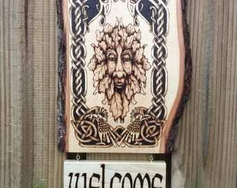 Welcome Sign / Wall Decor: Knotwork, Green Man, Fantastic Beasts - Handcrafted decor w/ Family Name or reversible Greeting - MADE TO ORDER