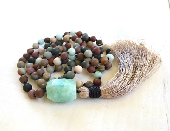 Mala Beads For Change, Landscape Jasper Mala necklace, Amazonite Guru Bead, 108 Bead Mala, Mantra Mala Necklace, Earthy Mala Necklace