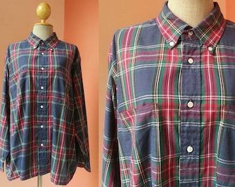 Plaid Shirt Vintage Shirt Men Women Shirt Gingham Shirt Tartan Shirt Button Up Shirt Polyester Cotton Shirt Oversized Shirt Long Sleeve
