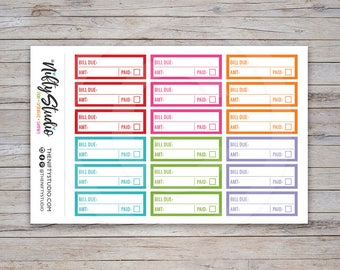 Bill Due Stickers | Financial Planning Stickers | Planner Stickers | The Nifty Studio [104]