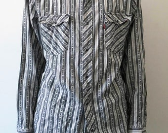 vintage 70s Levis Strauss button up black and white button up shirt men's xl