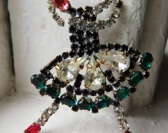 Unique Vintage czech Rhinestone button | Ballerina | Brooch size | Emerald green~pink~red~black~clear~2-5/8""