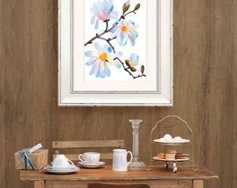 Magnolia Watercolor | Magnolia Painting | Magnolia Art Print | Magnolia Wall Art | Botanic Wall Art | Botanical Poster | Flowers Home Decor