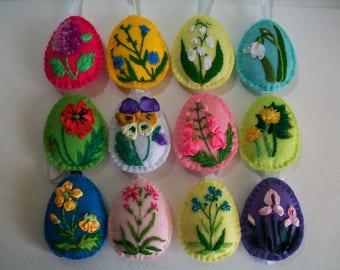 Felt Easter Eggs, Felt Easter decoration, Easter Embroidery Egg, Easter Felt Eggs Ornament, Set Of 12, Easter Home Decor,Flower Eggs