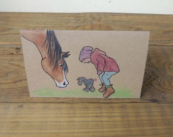 Boy with horse - Several Colours - Hand made card