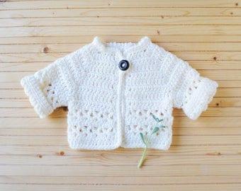 Newborn Girl Gift, Newborn Sweater, Baby Sweater, Cream Baby Sweater, Toddler Sweater, Crochet Baby Sweater, Knit Baby Sweater, Baby Gift