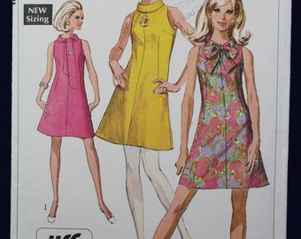 1960's Sewing Pattern for a Mod Dress in Size 12 - Simplicity 7625
