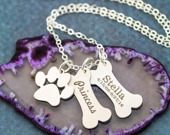 Dog Bone Jewelry Pet Family Necklace • Dog Charm Bone Cute Charm Paw Dog Family Gift Dog Lover Gift Dog Loss Pet Memorial Dog Pendant Paw