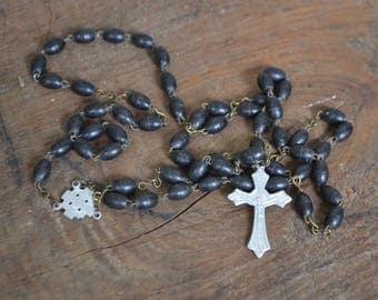 Rosary, old rosary, christian rosary, catholic rosary, antique rosary, plastic rosary, black rosary, black plastic rosary, jerusalem rosary