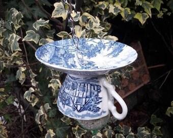 Teacup Bird Feeder, Outdoors Gift, Blue Garden Decoration, Yard Ornament,  Vintage Tea